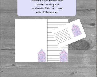 Watercolour Beach Hut Letter Writing Paper Stationery Set with matching envelopes, letter writing set, stationary, letter paper, penpal gift