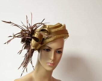 Golden Pillbox Hat Kentucky Derby Hat, Wedding Hat, Formal Hat, Church Hat