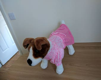 Hand knitted pink dog dress
