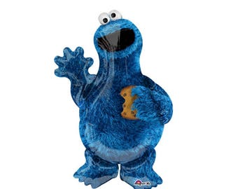 "Cookie Monster Balloon Large 31"" Mylar Balloon Cookie Monster Sesame Street"