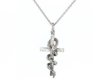 Cross Pendant, Vintage  Stainless Steel Cross  Pendant