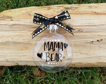 Mama Bear arrow flat bulb glass ornament, Mama Bear arrow ornament, Mama Bear flat bulb ornament, Mama Bear arrow gift, Mama Bear gift