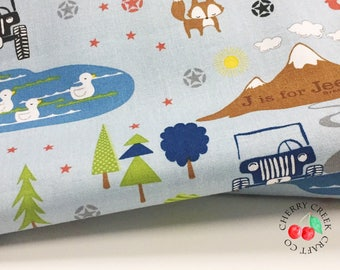 J is for Jeep Fabric, Main Blue, Riley Blake Designs