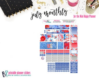 July Monthly // Mini Happy Planner // Monthly View // Printable Planner Stickers // Cut Lines