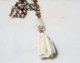 Mermaid Coral & Moonstone Necklace, electroformed necklace, crystal pendant, boho jewelry