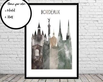 Bordeaux, Bordeaux skyline, Bordeaux France, watercolor Bordeaux, France, watercolor City Print, Office Art (3850b)