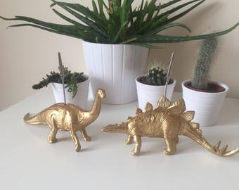 Brontosaurus and Stegosaurus dinosaurs gold coloured photo memo picture wedding birthday gift table desk decor business card holder