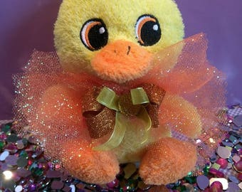 Teddy duck plush plushie bow gift cute