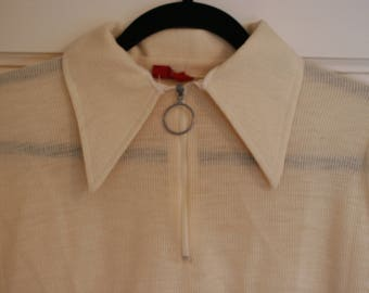 Vintage 70's ring zipper long collared shirt