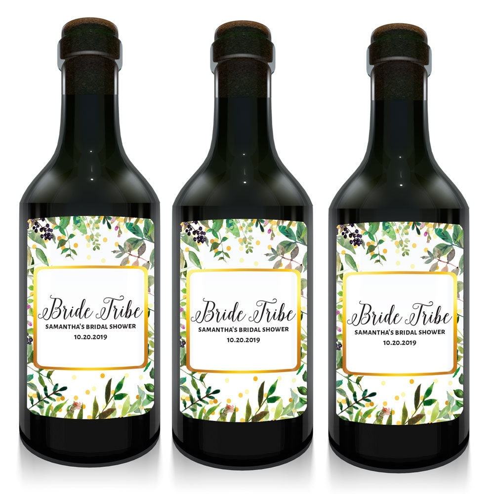 Bridal shower mini wine bottle labels custom mini wine for Etsy mini wine bottle labels