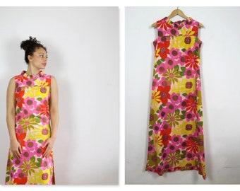 60's Bright Sunflower Floral Cotton Maxi Dress