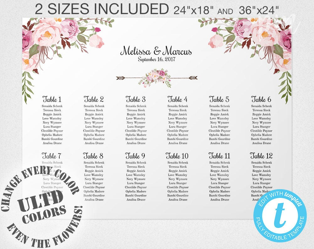 Wedding Seating Chart Template, Floral Wedding Seating Chart Sign ...