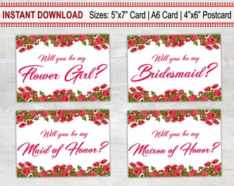 Set of 4 Will You Be My Cards, Printable Card, Wedding Proposal Card, Floral Card, Bridesmaid, Flower Girl, Maid of Honor, Matron of Honor