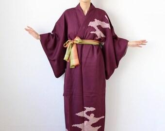 embroidered kimono, Japanese kimono, maxi dress, wrap dress, vintage Japanese /1737