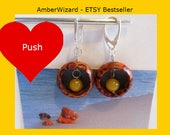 Baltic #Amber #Wooden #wood #Earrings from 100% Natural amber 4.4 gr, #Silver 925 clasp yellow egg yolk butterscotch #round beads for #adult