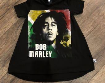Bob Marley, baby Romper, custom romper, upcycled clothing, rock music, custom baby gift, handmade baby clothes, baby bodysuit