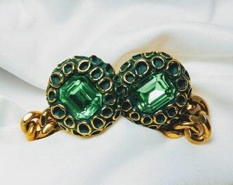 Green Vaseline Glass Cufflinks