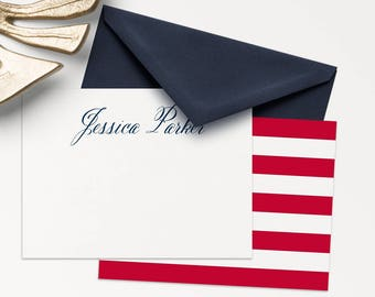 100 Personalized Stationery / Patriotic Note Cards / Thank You Cards / 100 Note Cards With Envelopes