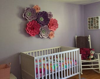 8 piece paper flowers - nursery decor - girls bedroom - oversized paper flowers - wall flowers - flowers for the wall