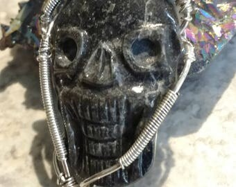 Wire Wrapped Golden Seraphinite Skull Pendant Necklace