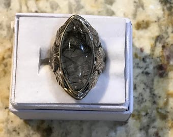 Black Rutilated Quartz Ring, Size 7