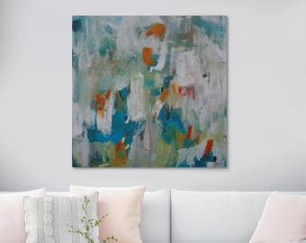 ORIGINAL Blue Green Abstract Oil Painting Canvas Square Paint Strokes Housewarming Gift Home Decor Wall Art 47 x 47 inches (120cm x 120cm)