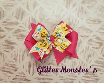 Emoji Bow, Emoji Hair Bow, Emoji Birthday Bow, Emoji Pinwheel Bow, Toddler Emoji Bow, Emoji Birthday, Emoji Hair Accessories