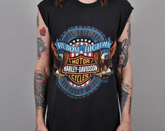 Vintage 1990 Harley Davidson 'Freedom Highway' Muscle Tshirt S6