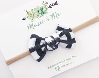 Black and White Gingham Tied Bow / Tied Bows / Modern Bows / knot bow / Macie and Me