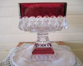 Westmoreland Cranberry Flashed Compote no lid - Item #1145