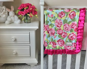 Tumble Roses Baby Blanket, Hot Pink Baby Blanket, Roses Toddler Blanket, Pink Toddler Blanket, Pink Roses Baby or Toddler Blanket