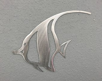 Angel Fish Metal Wall Art Ocean Nautical Marine Sea Life Beach House Home Decor