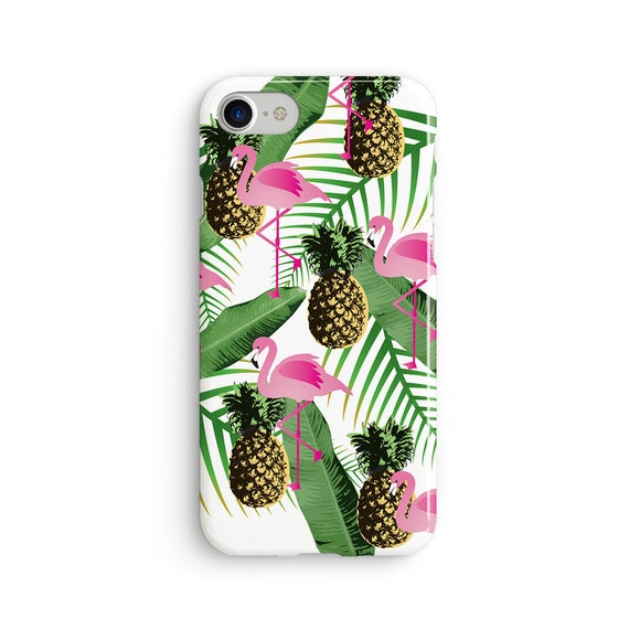 Flamingo and pineapple tropical  iPhone X case - iPhone 8 case - Samsung Galaxy S8 case - iPhone 7 case - Tough case 1P047