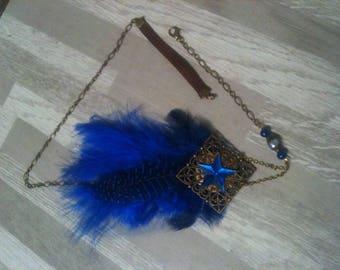 Headband shabby bronze royal blue feather with STAR,natural beads stone Agate/serretete plume bleu roi fantaisie étoile,perles Agate bleu