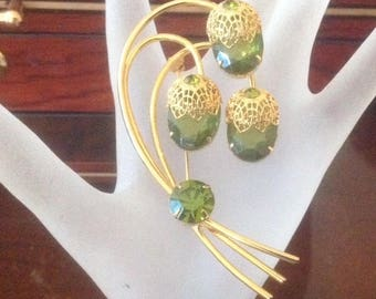 Vintage SARAH COVENTRY  Green Stone Brooch...Statement Piece!