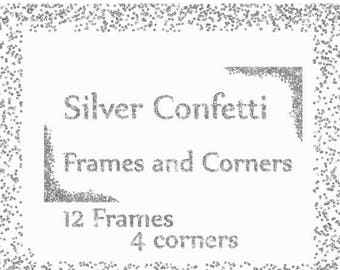 "40%SALE Silver Confetti Frames: ""SILVER FRAMES"" Glitter Frames Silver Glitter overlay Confetti corners wedding clipart diy invites Silver  b"