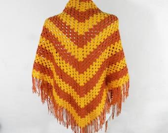 Vintage 1970s Funky Yellow and Orange  Hand Crocheted Fringed Shawl  Boho Hippy Festival