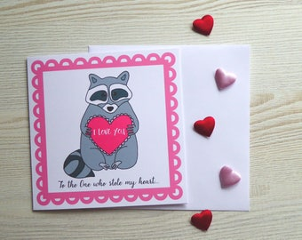 """Adorable Raccoon """"To the One who stole my heart..."""" 6x6"""" Square Valentine's Day or Anniversary Greetings Card With Envelope"""