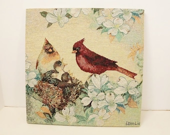 Lena Liu Cardinals/Lena Liu Birds/Wall Decor/Tapestry/Tapestry Wall Hanging/Bird Decor/Red Cardinal/Bird Tapestry/Lena Liu/Morning Serenade