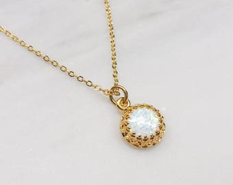 Opal Necklace / Dainty Opal Gold Layering Necklace / Bridesmaid Necklace