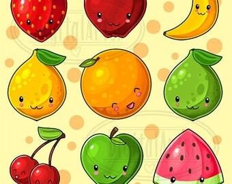 50% OFF Kawaii Fruit Clipart - Produce Download - Kawaii Design Download - Lemons, Limes, Apples, Oranges and More!