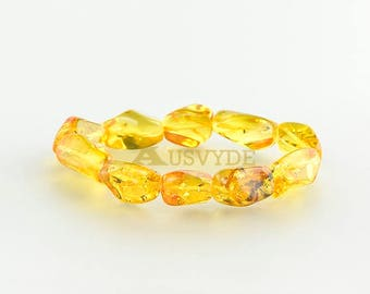 Baltic amber insect bracelet, Inclusion bracelet, Natural Amber, For Adults, Yellow Amber, Amber Bracelet, 5372