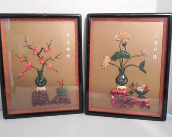 Vintage Chinese Carved Jade Coral Cinnabar Shadow Box Wall Art Black  Lacquer Frame Hand Carved Japanese