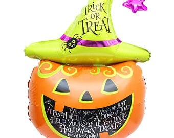 "11""x7""  Pumpkin Balloon | Pumpkin Halloween Balloon | Trick or Treat Pumpkin Balloon"