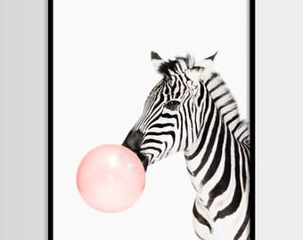 Zebra print, Nursery animal art, Zebra wall art, Kids room printable, Safari