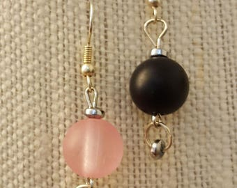 Frosted glass drop bead earrings (wires). Pink or Black
