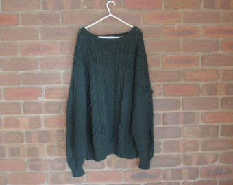 vintage hand knit PURE WOOL jumper forest green