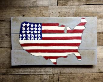 Reclaimed Wood American Flag Wall Art Shabby Chic Americana Art