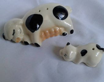 Vintage Mama Pig with Piglet Salt and Pepper Shakers, 1950's