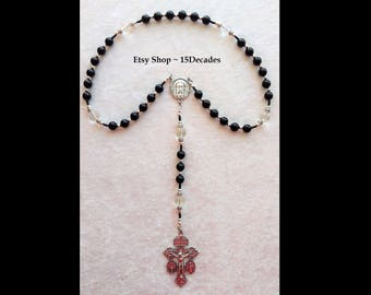 Holy Face of Jesus Chaplet - Rock Quartz Crystal & Black Onyx with Silver details